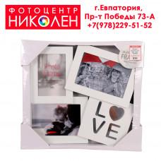 Коллажная рамка на 3 фотографии+надпись Love (зеркало)
